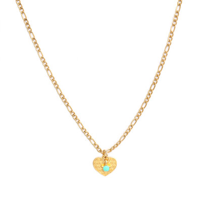 Necklace heart gold turquoise star
