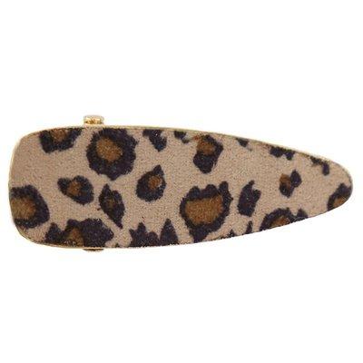 Statement hair clip velvet leopard beige