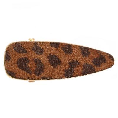 Statement hair clip velvet leopard brown