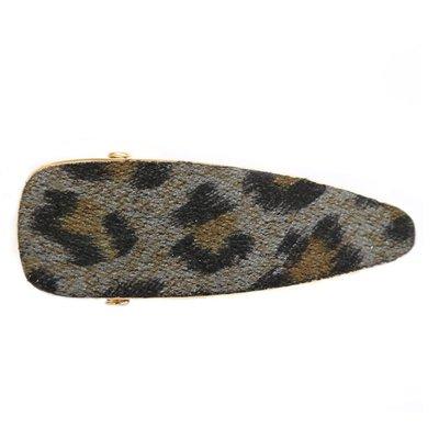 Statement hair clip velvet leopard grey