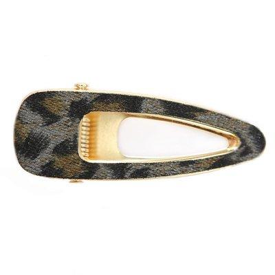 Statement hair clip velvet leopard open grey