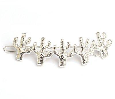 Cactus hair clip silver