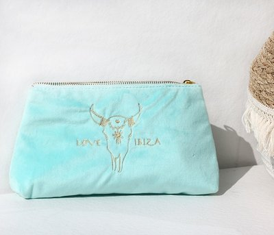 Cosmetic bag velour turquoise