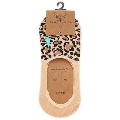 Sneaker socks leopard beige