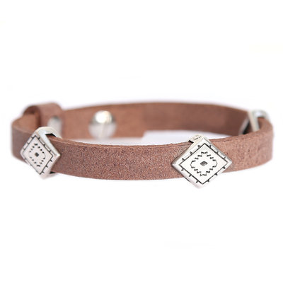 Indian tribe bracelet brown (real leather)