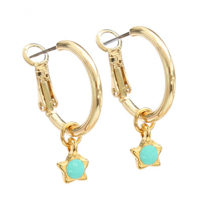 Earrings turquoise star gold