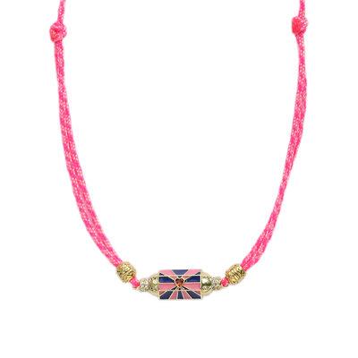 Necklace prayer box carousel pink