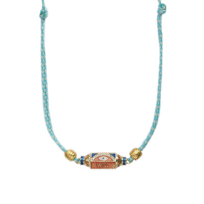 Necklace prayer box blue eye