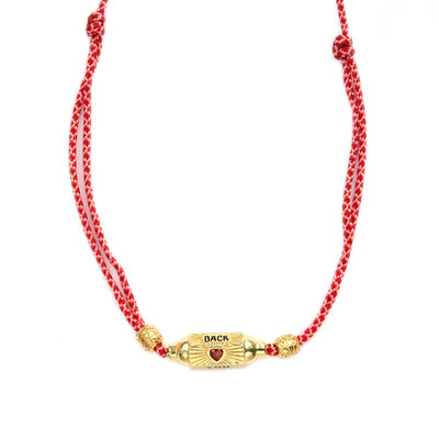 Necklace prayer box love you back red