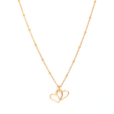 Necklace Double heart gold