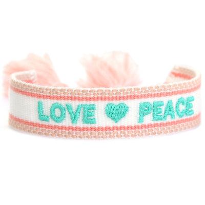 Woven bracelet love & peace