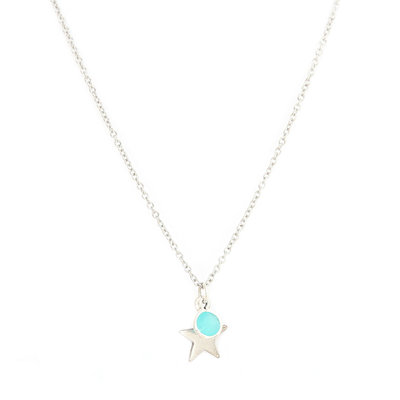 Necklace star blue silver