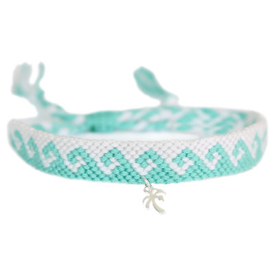 Anklet cotton waves turquoise silver palm