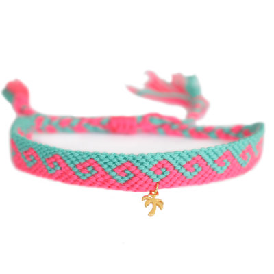 Anklet cotton waves pink turquoise gold palm