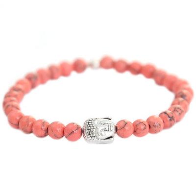 Buddha bracelet coral stone