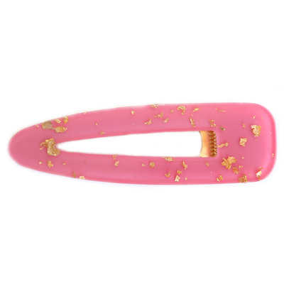 Statement hair clip hot pink gold flakes