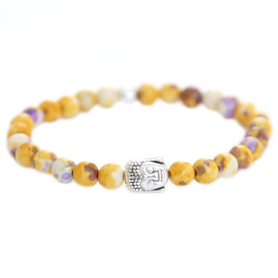 Buddha bracelet yellow purple splash