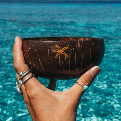 Salty Luxe palm tree coconut bowl & fork combo limited edition