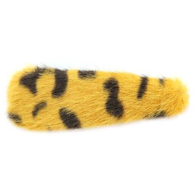 Hair clip faux fur leopard yellow