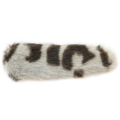 Hair clip faux fur leopard grey