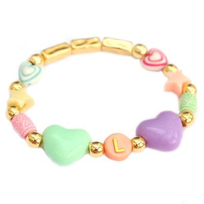 Bracelet initial happy heart