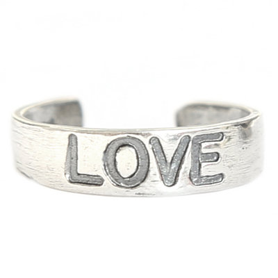 Toe ring Love (real silver)