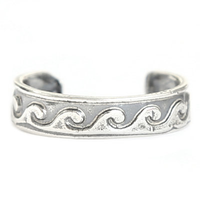 Toe ring Waves (real silver)