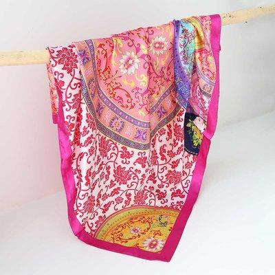 Satin bandana scarf baroque pink