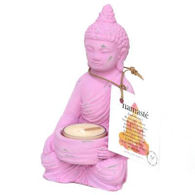 Buddha tea light holder pink