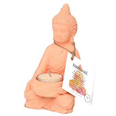 Buddha tea light holder peach