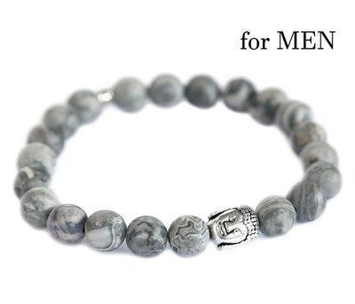 Buddha bracelet grey gemstone for men