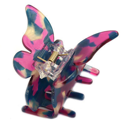 Hair claw butterfly purple flakes