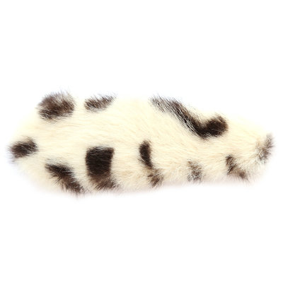 Hair clip faux fur leopard creme