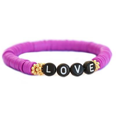 Winter bracelet LOVE prune