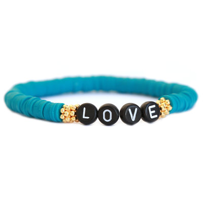 Winter bracelet LOVE teal