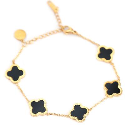 Bracelet lucky clover black