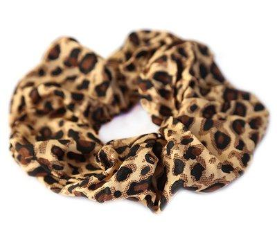 Cotton scrunchie leopard brown