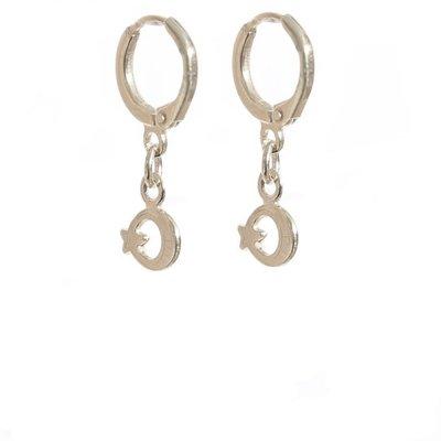 Earrings moon & star silver