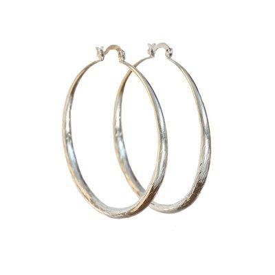 Earrings bamboo hoops silver