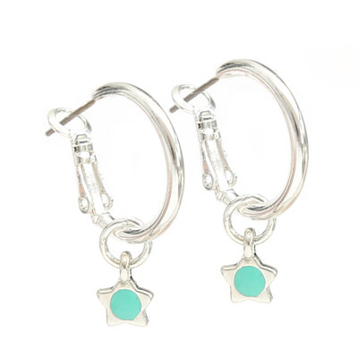 Earrings turquoise star silver