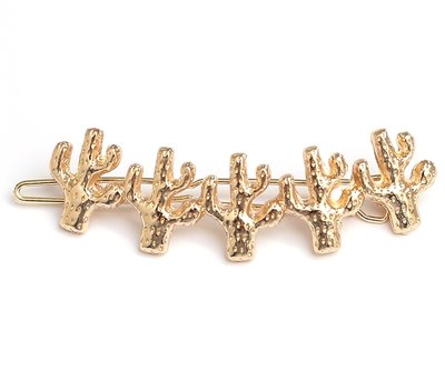 Cactus hair clip gold