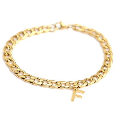 Bracelet chain initial gold