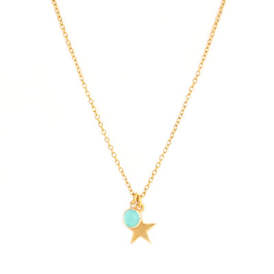 Necklace star blue gold