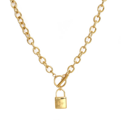 Necklace chain lock gold