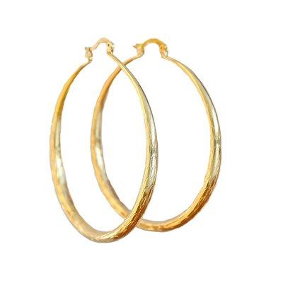 Earrings bamboo hoops gold