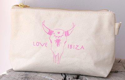 Make up tasje Love Ibiza pink
