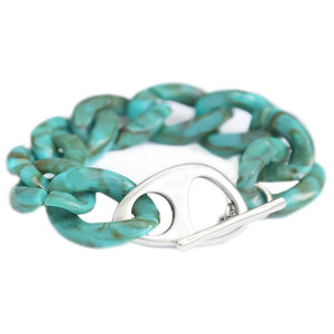 Armband azur marble chain silver